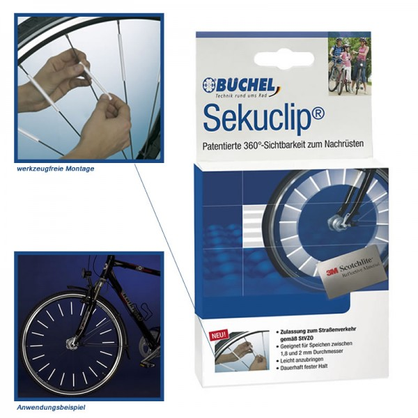 3M Scotchlite Catarifrangenti per raggi ruota - Sekuclip da Büchel – 4 pezzi
