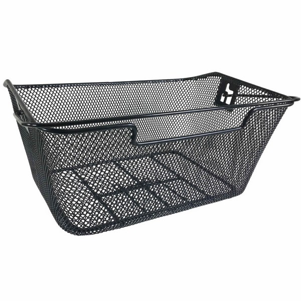 Bicycle basket for pannier racks black with handle plastic coated