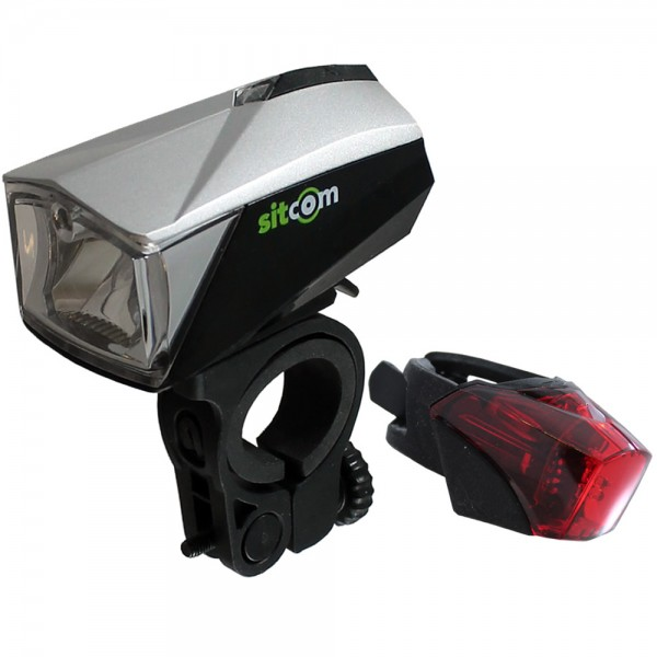 Bicycle LED light set 50 Lux sensor rechargeable front / rear USB silver