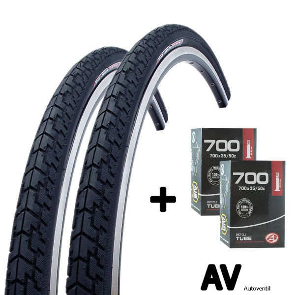 2x bicycle tire 28 inch 37-622 with tube AV set for front and rearwheel