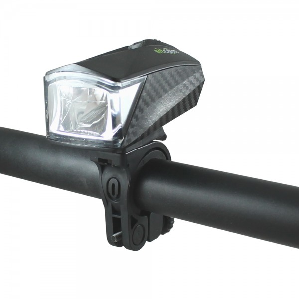 Bicycle LED carbon light front light 25 LUX battery headlights black StVZO